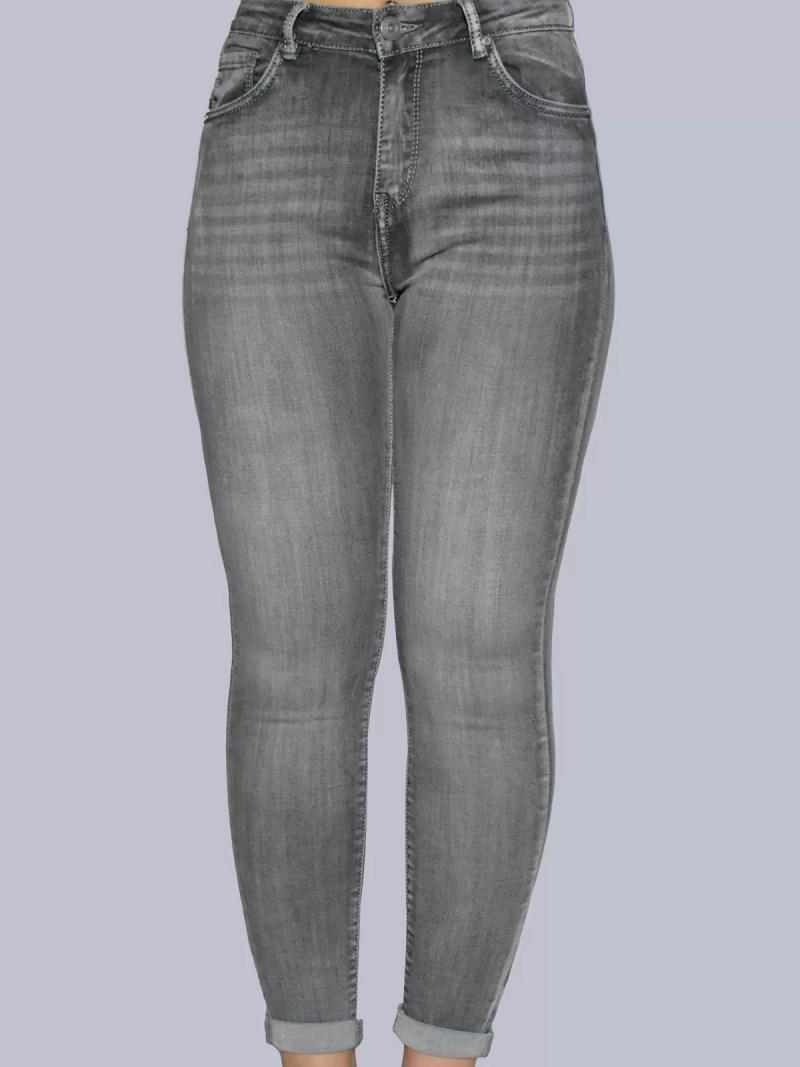 grijs strech hoge spijker broek
