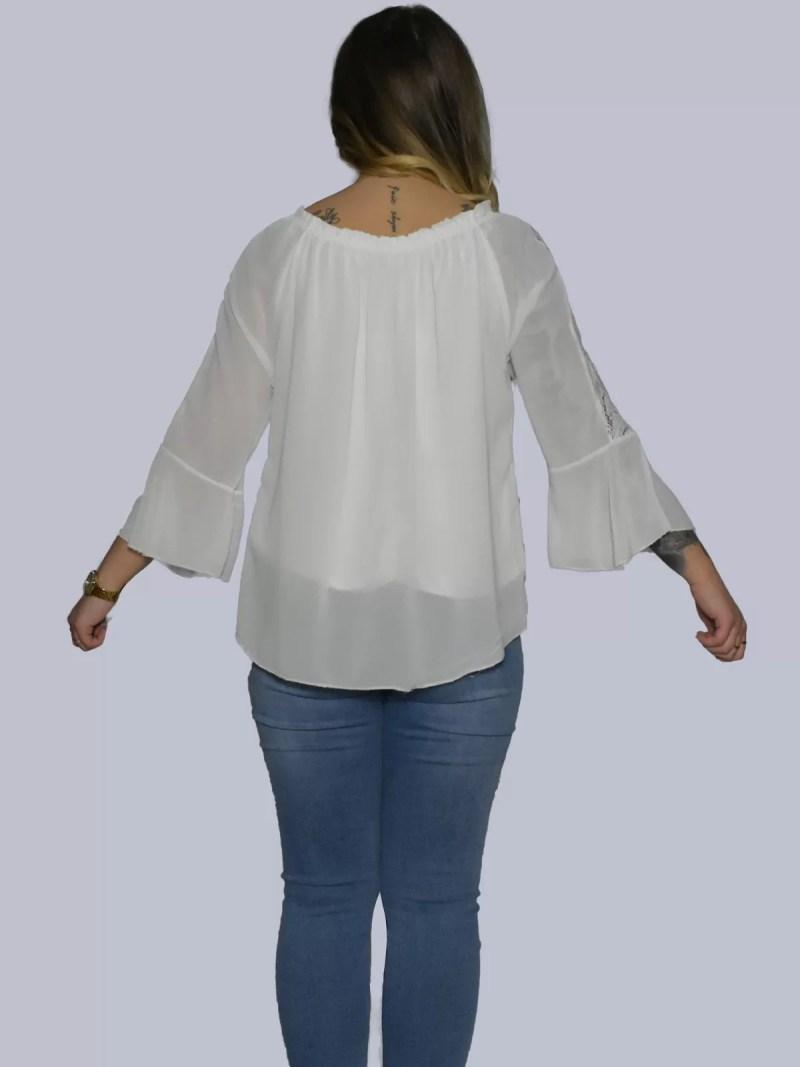 terug witte blouse met flair mouwen