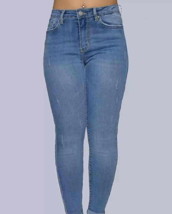 strech getailleerd spijker broek hoge model