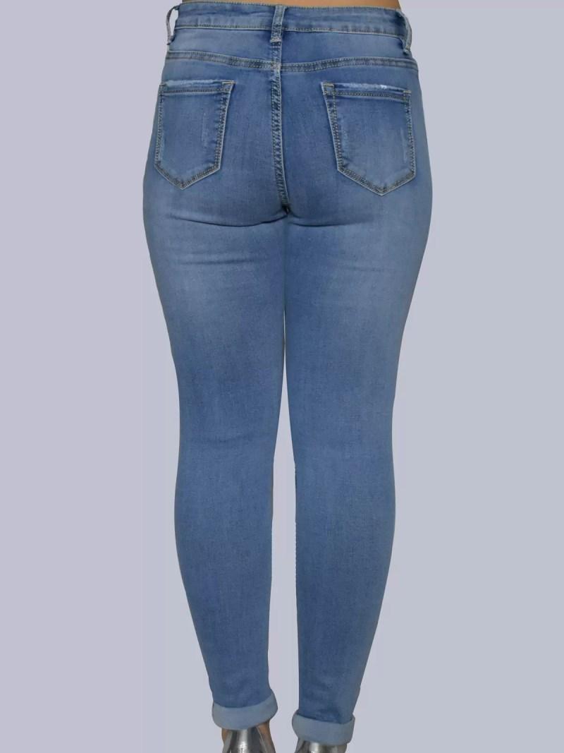 terug strech getailleerd spijker broek hoge model