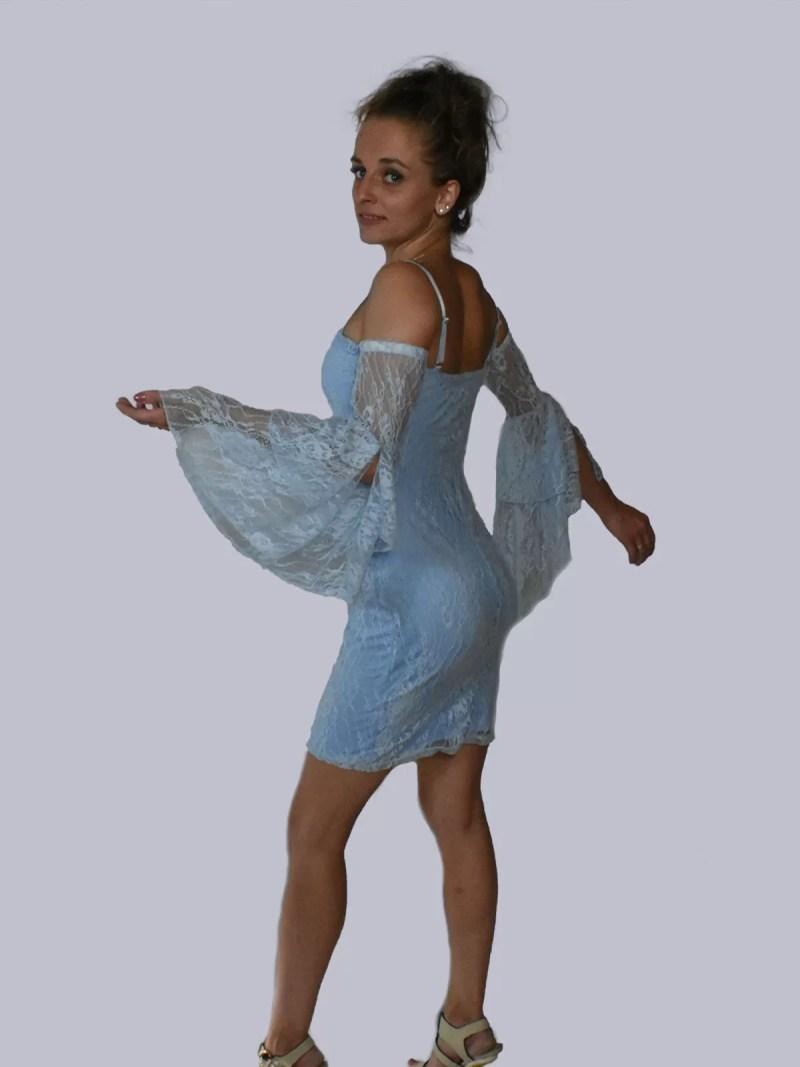 side blue dress