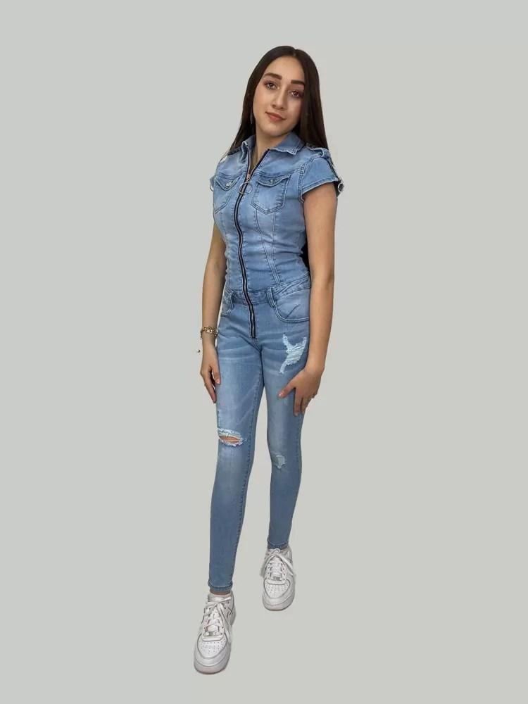 Blauw-Spijker-Jumpsuit-Voor-Dames