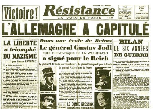 Anniversaire de la capitulation allemande le 8 mai 1945