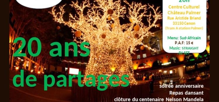 20 ANS DE PARTAGES – Soirée anniversaire au Château Palmer (vendredi 14 décembre 2018)