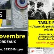 SOLDATS DES COLONIES – Une cérémonie et un débat le 9 novembre 2019 à Bordeaux avec des élu-e-s