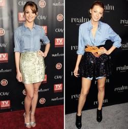 blake-lively-denim-shirt-chambray-shirt-sequin-skirt