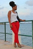Oldnavy Rockstar jeggings, Red skinny jeans, curvy girl wearing skinny jeans, jeans and tanktop outfit, casual outfit, Target leopard wedges, miami fashion blogger