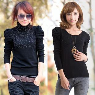 Quality-hot-sale-Plus-size-female-short-design-puff-sleeve-font-b-sweater-b-font-top