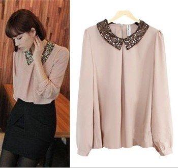 Spring-new-hot-lady-long-sleeve-vintage-chiffon-paillette-shirt-peter-pan-collar-shirt-women-sweet