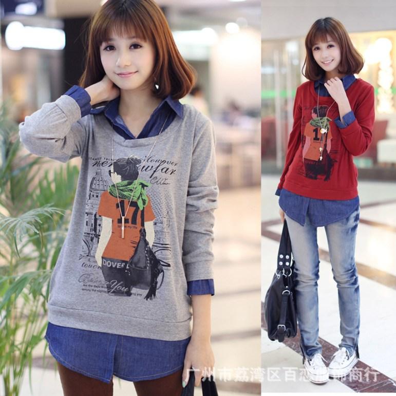 Women-Knitwear-Spring-Lady-Cowboys-Combine-Sweater-Head-Easy-Long-Sleeve-Students-T-Shirt-Shirt