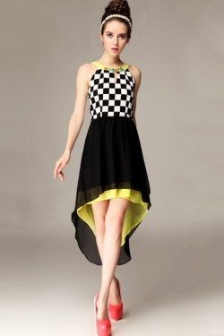 Fashion-Checkered-Pattern-Blocked-High-Low-Dress