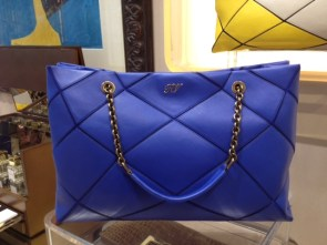 Prismick electric blue lambskin with bronze chain.2