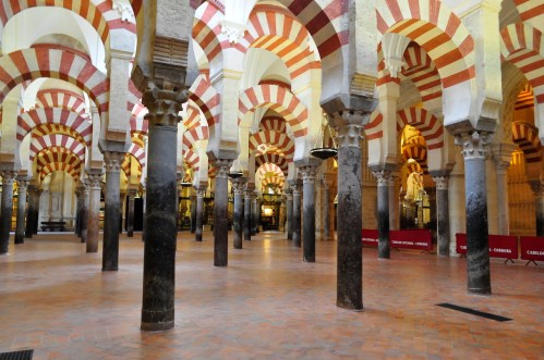 Red and yellow arches of Cordoba Cathedral