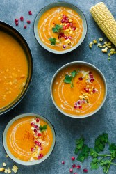 butternut squash sweetcorn vegan soup recipe with coconut milk, pomegranate and parsley- corn chowder