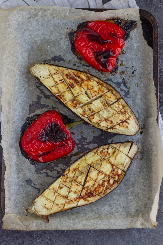 roasted red pepper and aubergine, with flesh upwards
