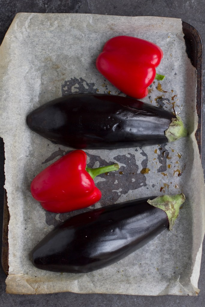 red pepper and aubergine on oven tray