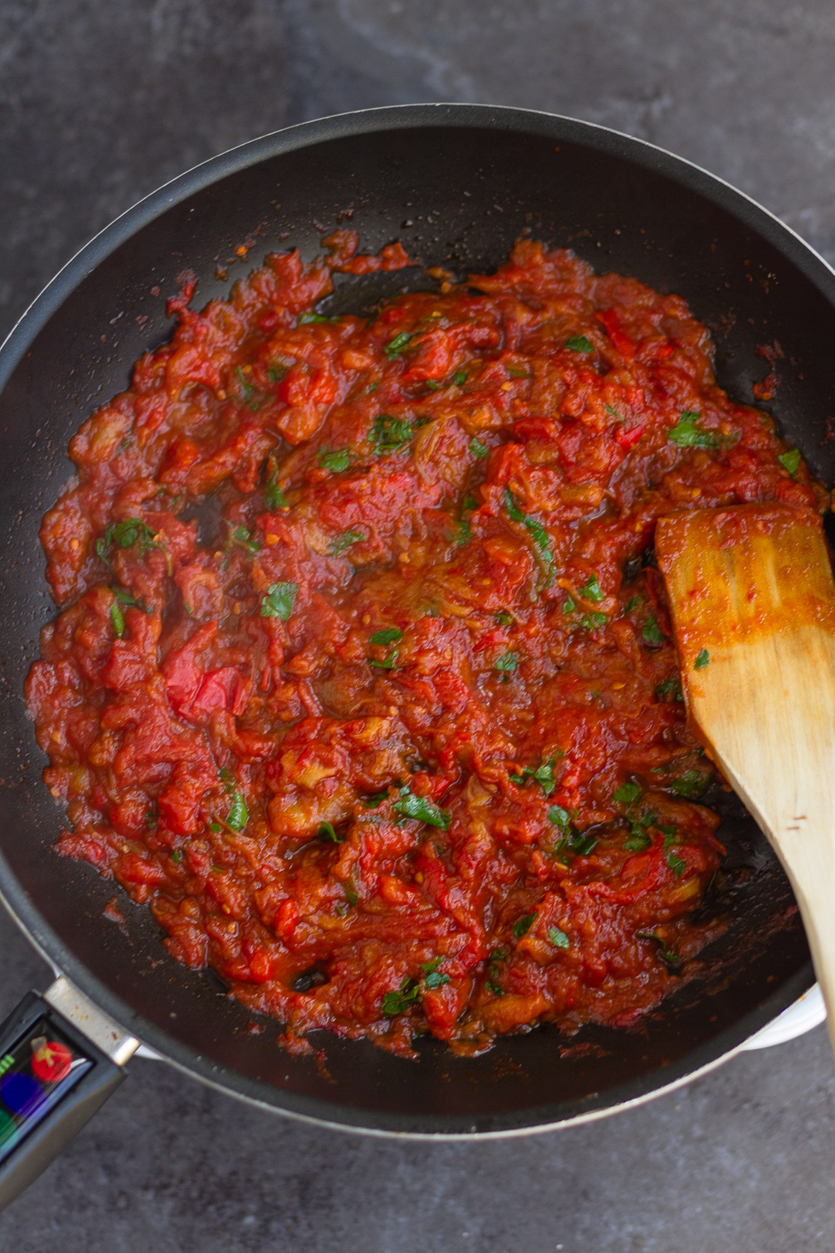 reduced aubergine, tomato and rep pepper mix with parsley