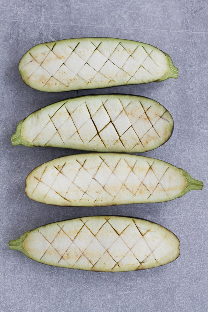 raw scored aubergine /eggplant