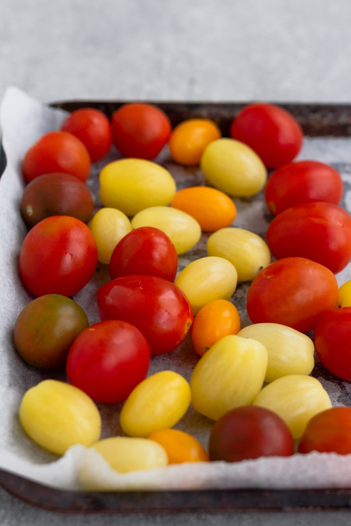 baby rainbow tomatoes on oven tray