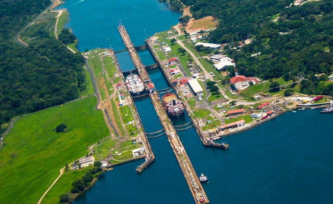 The Atlantic side of the Panama canal in Gatun