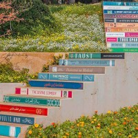 The Staircase of Knowledge - The book steps at Library in Balamand