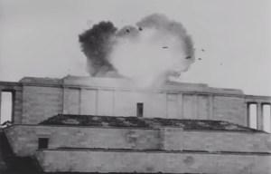 Zeppelinfeld – Swastika emblem is demolished in Nurnberg