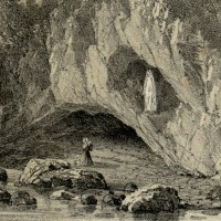 The grotto at Massabielle - The vision of Virgin Mary appears Bernadette Soubirous to in Lourdes