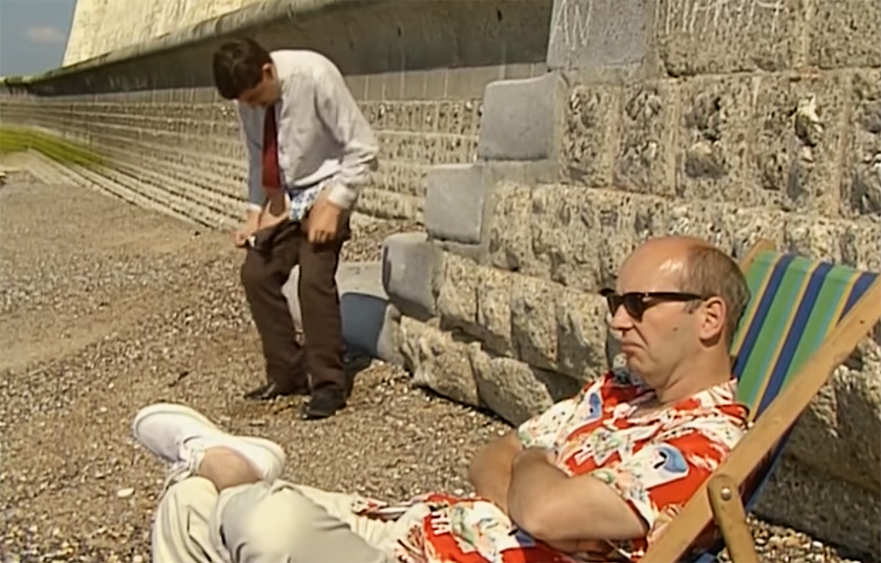 Mr. Bean – Changing at the beach in Peacehaven