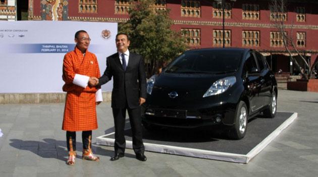 Nissan se asocia con Bután para formar una estrategia con vehículos eléctricos