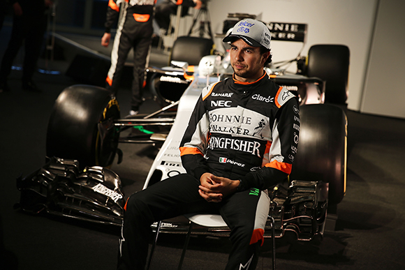 Sergio Perez (MEX) Sahara Force India F1. Sahara Force India F1 VJM10 Launch, Wednesday 22nd February 2017. Silverstone, England.