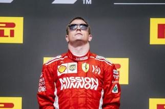 Kimi Raikkonen en lo más alto del podio, 115 carreras después