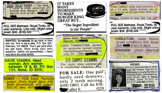 The 50 Most Hillarious Classified Ads Ever | Memolition