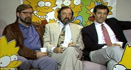 Creators of The Simpsons Matt Groening, James Brooks, and Sam Simon, right, are interviewed about the hit show in the early 1990s