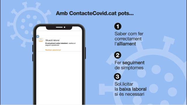 Imatge que ens explica que podem fer amb l'aplicació de ContacteCovid.cat