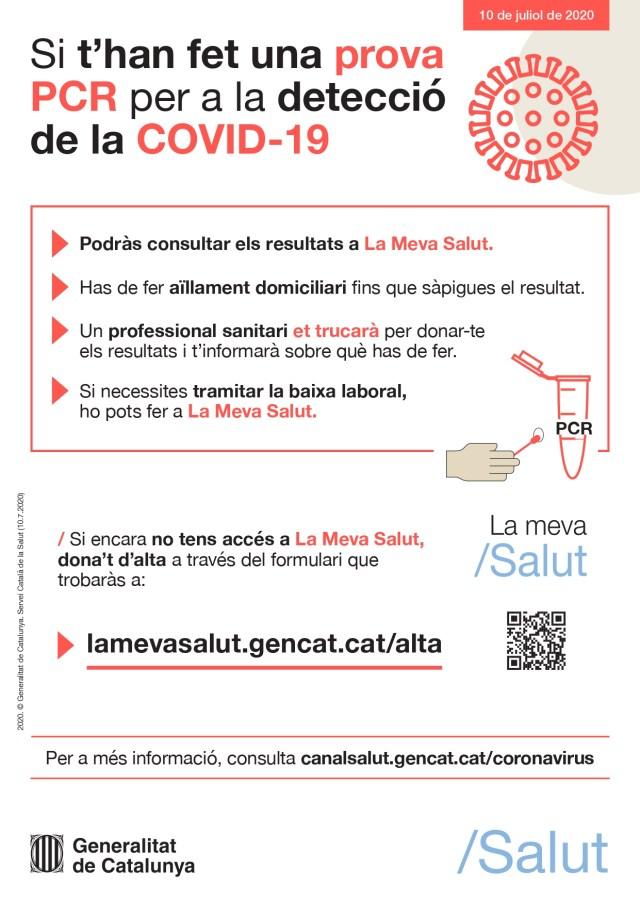 Cartell: Si t'han fet una prova PCR per a la detecció de la COVID-19