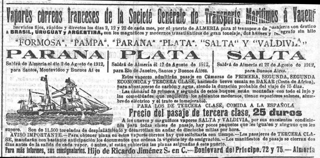 Imagen 3. Anuncio de vapores de la SGTM hacia América desde Almería. (Vapores correo franceses. Consignatario hijo de Ricardo Jiménez., 1912)