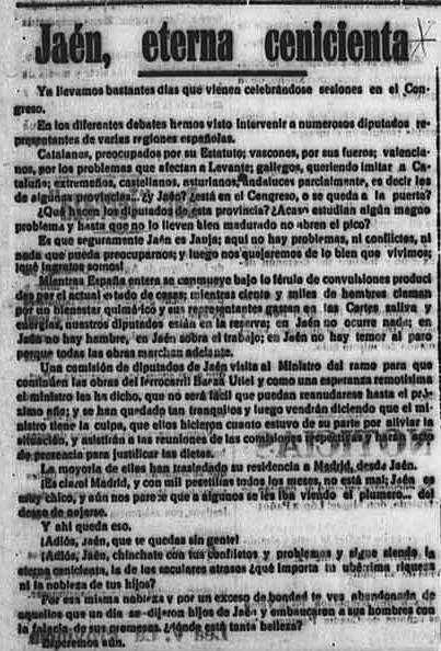 Artículo diario La Provincia, Úbeda, 18 de agosto de 1931