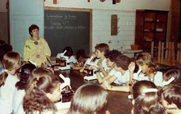 1987 - Aula prática no Laboratório de Ciências