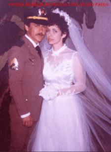 O atual Delegado Secional de Bragança Paulista, Antonio Jose Pereira, quando contraiu matrimônio, ainda como Policial Militar, na década de 80.