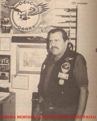 """O saudoso Investigador de Polícia do GARRA José Carlos Marques, o """"Gaúcho"""", em 1.989."""