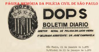 Boletim Diário do DOPS, em 23 de janeiro de 1.975.