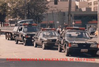 As 3 primeiras viaturas do GER (Grupo Especial de Regate), na década de 80. (Acervo do então Chefe dos Investigadores, Oscar Matsuo).