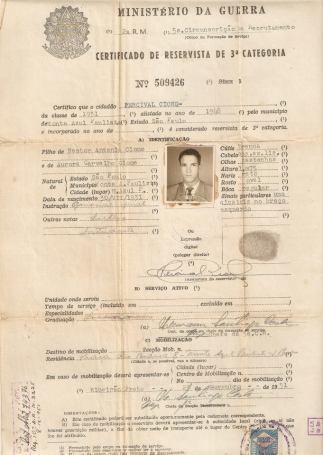 """Certificado de Reservista do Delegado de Polícia Percival Cione """"in memorian""""."""