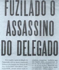 """""""CUMPRO O DEVER DE COMUNICAR QUE ACABA DE SER MORTO PELA RUDI EM TIROTEIO NAS MATAS DE TAQUARITUBA, A 420 QUILÔMETROS DE SÃO PAULO, O INDIVÍDUO JOSÉ ALEIXO DA SILVA, VULGO ZÉZINHO DA NÓRIA, QUE ONTEM ASSASSINOU NOSSO COLEGA JOSÉ VIEIRA DAS NEVES E SUA ESPOSA. O CRIMINOSO SE HOMIZIARA NAS MATAS ONDE ESTAVA CERCADO DESDE AS PRIMEIRAS HORAS DE HOJE. DEPOIS DE MANTER CERRADO TIROTEIO COM OS COMPONENTES DA RUDI-3, FOI ATINGIDO POR VÁRIOS DISPAROS."""" Mensagem enviada pelo Diretor do DEIC, Dr. Rubens Liberatori a todas as Delegacias da Capital e do Interior, em 1969."""