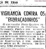 Cantada vira caso de polícia nas ruas Augusta e Barão de Itapetininga, em março de 1.958.