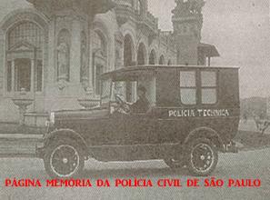Viatura do Laboratório de Polícia Technica do Gabinete de Investigações da Directoria da Segurança Publica da Secretaria da Justiça e da Segurança Publica de São Paulo, no início da década de 30, em frente ao Palácio das Indústrias, Parque Dom Pedro ll.