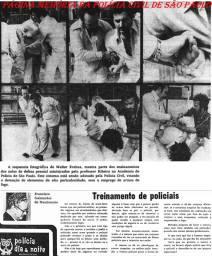 Flagrante de momento de descontração dos policiais da Delegacia de Roubo a Bancos do DEIC, na década de 80: O então Chefe Oscar Matsuo e Investigador Thezouro.