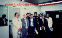 """Curso da ACADEPOL SP em Presidente Prudente SP coordenado pelo DR Taniguchi, na foto, Roberto Faria, Investigadores Hugo Hira e Antonio Fernandes Martins """"Rambo"""", em 1990."""