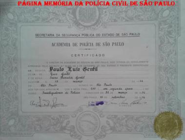 Certificado de uma das primeiras turmas do Curso de Formação Técnico Profissional da recém inaugurada ACADEPOL, do aluno Paulo Luiz Gentil (em segunda época), em 31 de março de 1.971.