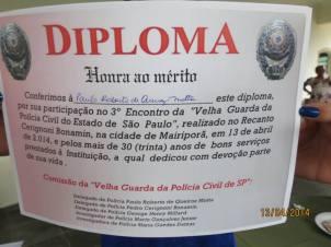 3º Encontro da Velha Guarda da Polícia Civil de São Paulo, ocorrido no 13 de abril de 2.014, no Recanto Pedro Cerignoni Bonamin, em Mairiporã/SP. Diplomas entregue aos velhos combatentes.